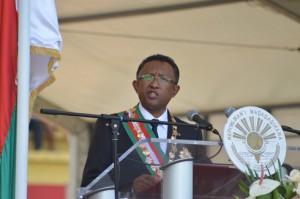 Hery Rajaonarimampianina a tenu un discours rassembleur, lors de son investiture. (Photo Nary Ravonnjy)