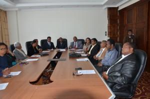 Des dirigeants de la confédération des syndicats des grands corps de l'Etat malgache. (Photo Yvon RAM)