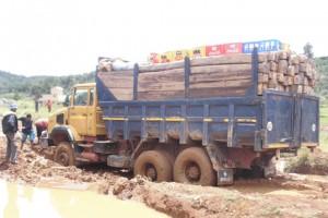 Un camion transportant du bois carré s'enlise dans la boue.