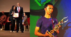 Luck Razanajaona, recevant son trophée, Herizo Ramilijaona, l'auteur de « Selamanana ».