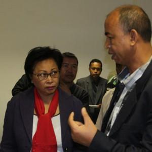 Discussion à bâtons rompus entre le nouveau maire Lalao Ravalomanana et le PDS par intérim Joseph Ramiaramanana.